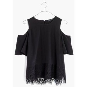 $88 Madewell black silk off shoulder top with lace